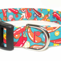 Colorful Red Hot Chili Peppers Dog Collar