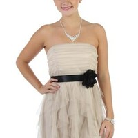 Solid Colored Strapless Short Prom Dress with Ruffled Hemline