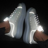 Alexander McQueen Classic Casual Sports Running Shoes Sneakers White Luminous