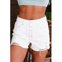 Party Hopping High Rise Button Down Distressed Denim Shorts (White)
