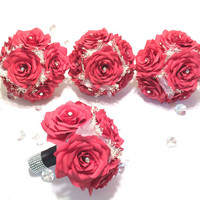 Apple red handmade paper Rose and Baby's breath bouquets, Can be made in colors of your choice, Wedding bouquets, Bridesmaid bouquets