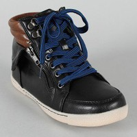 Bamboo Graphic-01 Two Tone High Top Lace Up Sneaker Bootie
