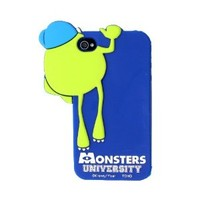 Euclid+ - Dark Blue and Green Monster University Mike Wazowski Hide And Seek Style Silicone Soft Case Cover for Apple iPhone 4 4s 4th 4g 4Generation with Euclid+ Cable Tie