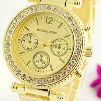 MK Michael Kors Men's and Women's Fashion Stylish Watches F-Fushida-8899 gold