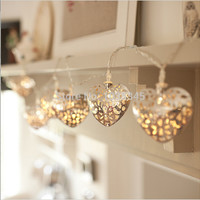 20LED Silver Heart Battery Operated LED Fairy Lights String Decoration Light for Festival Halloween Christmas Party Wedding