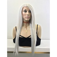White Silver Straight Human Hair Blend Multi Parting Lace Front Wig - Gabriela