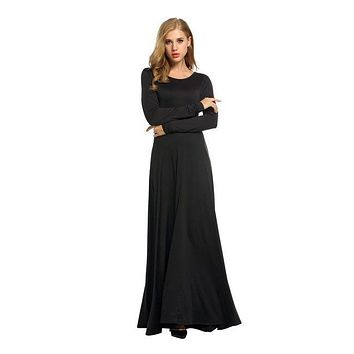 New Arrival Women Simple Long-sleeve Figure Flattering Black Maxi Dress