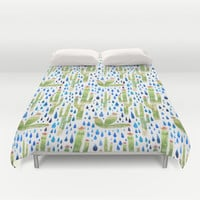 Watercolor Cactus with Raindrops Duvet Cover by Natalievmason | Society6