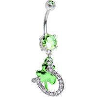 Light Green CZ Get Lucky Horseshoe and Clover Dangle Belly Ring | Body Candy Body Jewelry