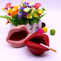 Modern Lighted Lips Ceramic Cigarette Ashtray Holder for Home