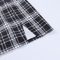 fhotwinter19 Bag hip stitching A-line solid color split solid color casual cotton yarn skirt