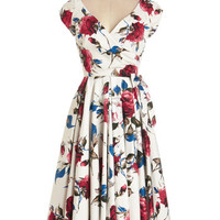ModCloth Long Cap Sleeves Fit & Flare Layered Cupcakes Dress in Red and Blue