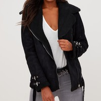 Black Faux Suede Aviator Jacket