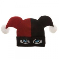 BioWorld DC Comics Harley Quinn Big Face Jester Beanie Knit Winter Cap