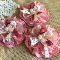 3 shabby chic lace and fabric handmade flowers.
