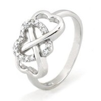 TIONEER Sterling Silver Cubic Zirconia Heart Infinity Ring, Size 6