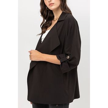 Open Front Oversized Draped Lapel Jacket with Pockets
