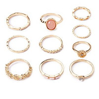 Opal Faux Stone Mixed Ring Set