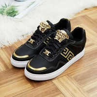 Versace Black Gold Women Men Fashion Sneakers Sport Shoes