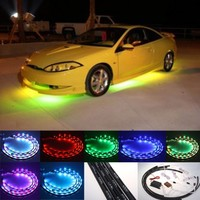 "Fuloon (TM) 7 Color LED Under Car Glow Underbody System Neon Lights Kit 48"" x 2 & 36"" x 2 w/Sound Active Function and Wireless Remote Contro"