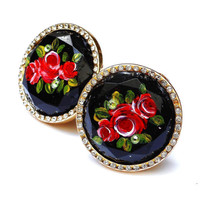 Large Black Ring Painted Rose Romantic Bohemian Victorian Jewelry FREE SHIPPING