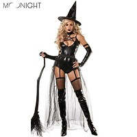 MOONIGHT 4 Pcs Witch Gothic Queen of Witch Black Halloween Women Cosplay Costume Outfit