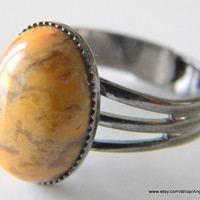 Crazy Lace Natural Agate Ring 14x10mm Stone and Gunmetal Plated Adjustable Ring