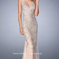 Beaded V-Neck Long Open Back Prom Dress by Gigi