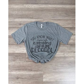 Distracted - You Know What Rhymes with Camping? Drinking Graphic Tee in Grey