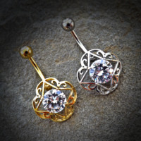 Round CZ Center Tribal Filigree 316L Surgical Steel Belly Button Navel Rings
