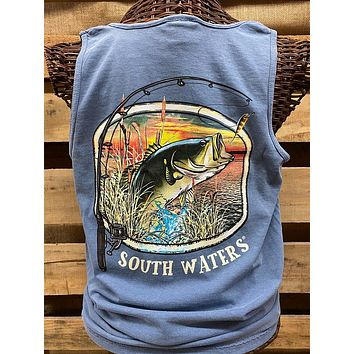 Backwoods South Waters Fishing Bass Bright Comfort Colors Unisex T Shirt Tank Top