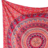 Pink Red Fabric Mandala Tapestry Boho Wall Hanging Throw Large Bed Bedspread Home Decor