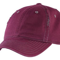 District Threads DT612 - Rip and Distressed Cap - Maroon/Grey - OSFA