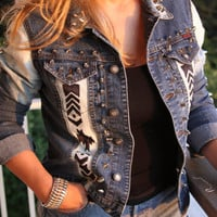 Denim ombre studded with Tribal/Aztec print. Size Sm/ Med.