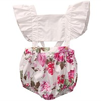 Floral Toddler Baby Girls Ruffles Floral Romper 2017 Summer Kids Sleeveless Romper Jumpsuit Outfits Sunsuit Clothes
