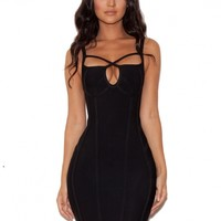 Clothing : Bandage Dresses : 'Karin' Black Cross Front Bandage Dress