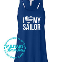 I love my Sailor Navy Racerback Tank Top Shirt, Custom Military Shirt for Wife, Fiance, Girlfriend, Mom,Workout