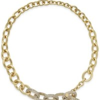 kate spade new york Gold-Tone Crystal Pavé Chain Toggle Necklace | macys.com
