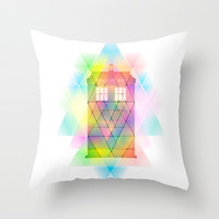Tardis and Triangles Doctor Who inspired modern piece Throw Pillow by Purshue