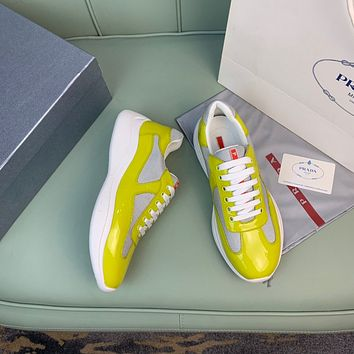 2021 New PRADA Men's Fashion Breathable Platform Casual Running Sneakers Sports Shoes yellow