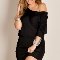 Black Simple Chic Solid Color Asymmetrical Half Sleeve Tunic Cocktail Dress