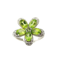PERIDOT Flower Diamond Ring Diamond Accents AUGUST Birthstone in Sterling