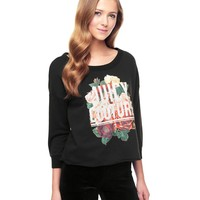 Pitch Black Juicy Floral Graphic Track Pullover by Juicy Couture,
