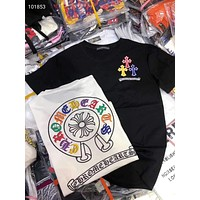 """Chrome Hearts"" Woman Leisure Fashion Letter Personality Printing  Hedging Crew Neck Short Sleeve Motion Tops"