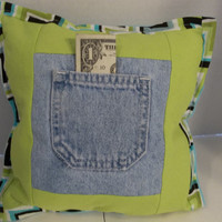 Denim Pocket Pillow, Tooth Fairy Pocket, Treasure Keeper Pillow, Upcycle clothes pillow