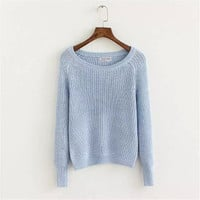 Plain Long-Sleeve Knitted Sweater
