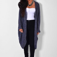 Tessoro Blue Metallic Cocoon Cardigan | Pink Boutique