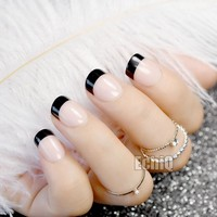 Short Natural French Nail Black Tip Beige Round Fake Nails for Ladies Daily Wear Manicure Tips
