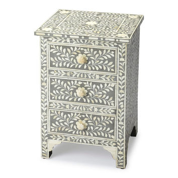 Vivienne Traditional Bone Inlay Rectangular Accent Chest Gray