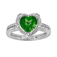 Sterling Silver Lab-Created Emerald & Diamond Accent Heart Frame Ring (Green)